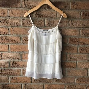 WHBM   White fringe tiered jewelry detailed top